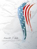4th July, American Independence Day background with wave in flag colors on grungy grey background. poster