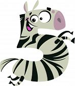 Number 5 excited cartoon zebra with stripes running poster