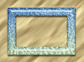 Picture frame with a water pattern on a sand background poster