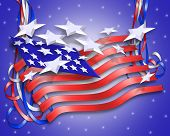 3 Dimensional illustration of Stars and Stripes for patriotic background for 4th of July Memorial labor veterans day or other National Holiday with text. poster