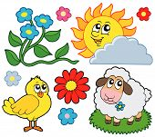Spring collection 1 on white background - vector illustration. poster