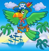 Flying pirate parrot with boat - color illustration. poster