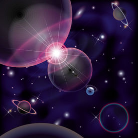 Cosmic Bright Background, space planets collision