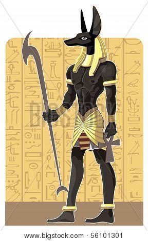Mighty Great dark Anubis on Egypt background