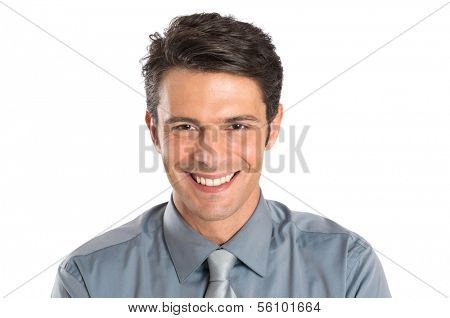 Portrait Of Happy Young Businessman Isolated Over White Background