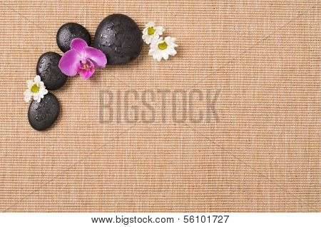 Beauty Still Life With Hot Stone And Flower