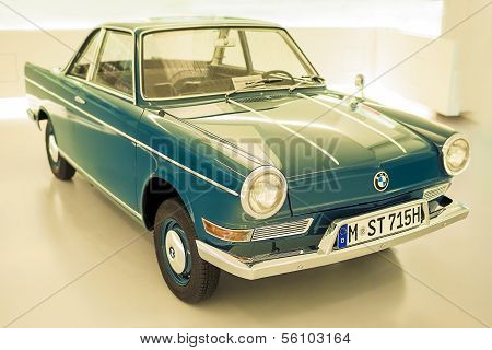MUNICH, GERMANY - JUNE 17, 2012: Bmw 700-series Automobile On Stand In Bmw Museum on June 17th , 201