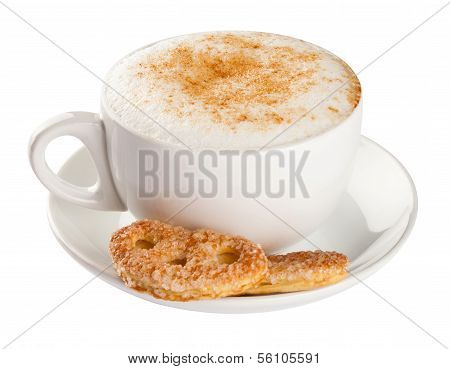 Cappuccino, coffee cup isolated on white