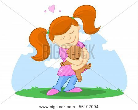 Child And Her Teddy Bearillustration
