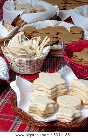 Baskets of xmas christmas cookie without frosting