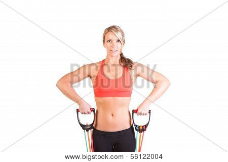 Portrait of pretty young woman doing rubber stretch resistance band exercises