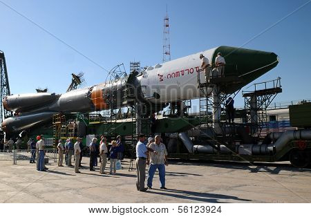 Progress Spacecraft At Baikonur Launch Pad