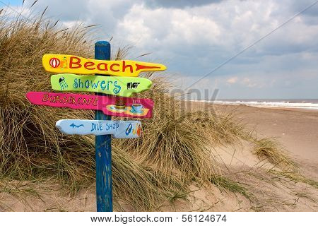 Beach Sign Post