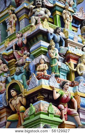 Beautiful sculptures at the gopuram Subramaniya swamy temple in Tiruttani