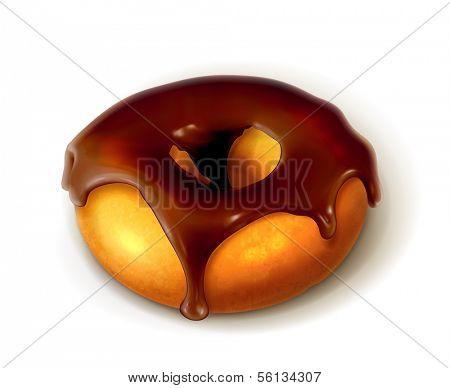 Ring donut in chocolate glaze