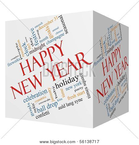 Happy New Year 3D Cube Word Cloud Concept