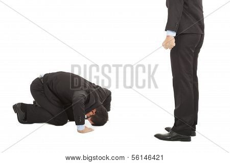 businessman apologize to boss with japanese kneeling position.isolated on white background poster