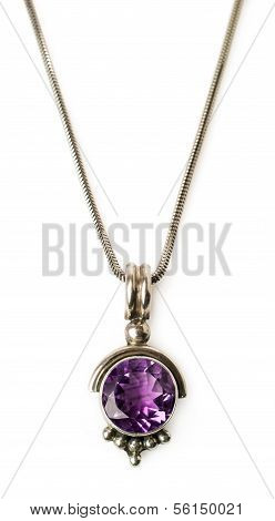 Pendant With Amethyst And Chain