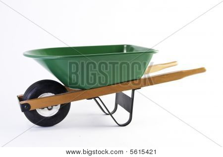 Side View Of Green Wheel Barrel