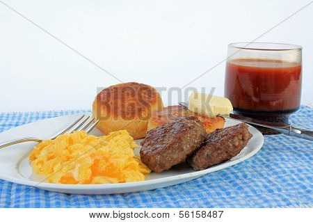 Scrambled Eggs And Sausage Patties