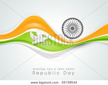 Happy Indian Republic Day concept with national flag colors wave, pigeons and Ashoka Wheel on grey background.