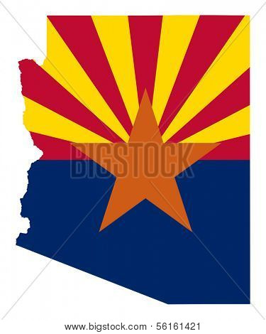 State of Arizona flag map isolated on a white background, U.S.A.