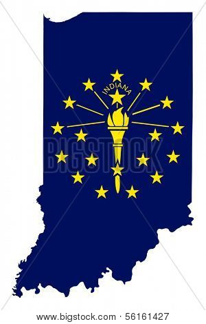 State of Indiana flag map isolated on a white background, U.S.A.
