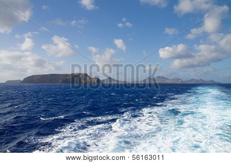 Porto Santo Island Seen From The Ship.