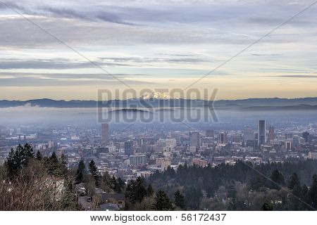 Portland Oregon Downtown Foggy Cityscape Skyline with Mount Hood at Sunset poster
