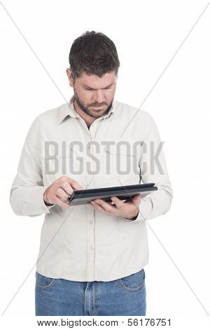 Young deaf or hearing impaired man on tablet