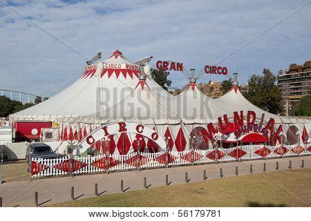 VALENCIA, SPAIN - DEC 27: The circus tents of the Gran Circo Mundial in Valencia, Spain on December 27, 2013. The Gran Ciro is in Valencia from December 13, 2013 until January 12, 2014.