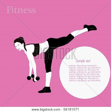 Fitness girl label - vector illustration background poster