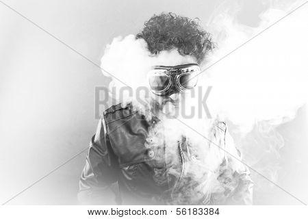 Smoke,Man with black shapes, studio portrait