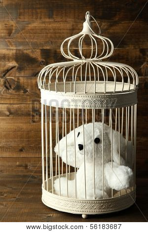 Toy rabbit in decorative cage  on wooden background