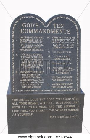 The ten commandments carved in black stone poster