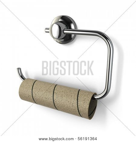 Empty toilet paper roll on white isolated background. 3d