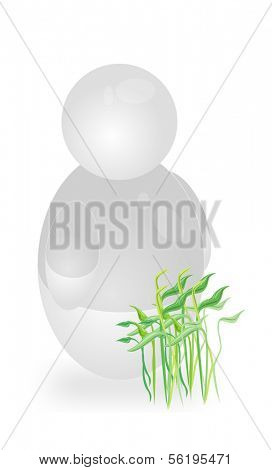 A stylized person standing next to a plant. All isolated on white background.