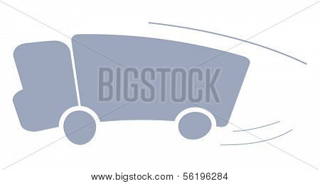 A symbolic illustration of a truck.  Isolated on white background.