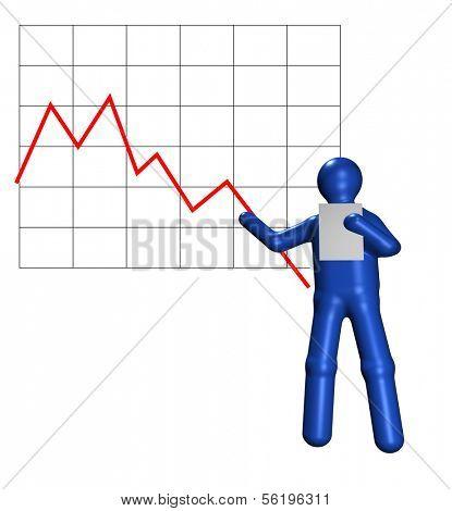 An illustrated person assaying an negative chart