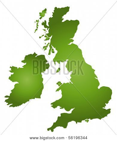 A stylized map of the United Kingdom in green tone. All isolated on white background.