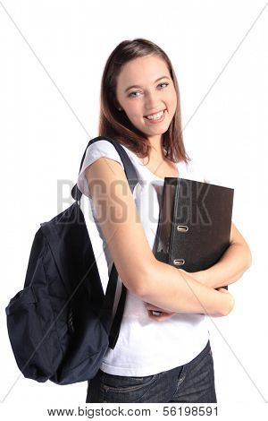 An attractive young student. All isolated on white background.