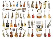 Musical instruments isolated under a white background poster