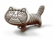 toy ceramic decorative cat isolated on white poster