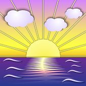 Vector abstract sea sunrise scene  in collage-like technic poster
