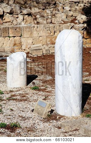 St Paul's Pillar a marble column on which the apostle St Paul received 39 lashes after trying to convert the islands Roman governor Sergius Paulus in AD45. The column ruin stands in the grounds of the 12th century church of Agia Kyriaki poster