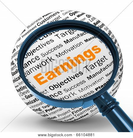 Earnings Magnifier Definition Shows Lucrative Incomes Or Profits