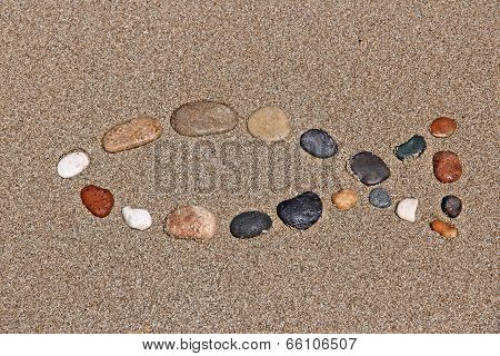 Christianity symbol - religious shape made of pebbles. Catholicism fish - ichthus. poster