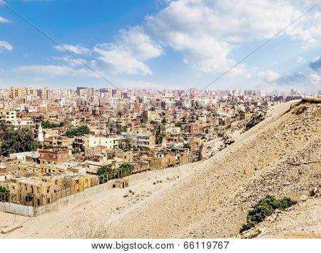 View Of Cairo From The Ruins Of Pyramids In Giza, Egypt