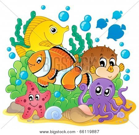 Coral fish theme image 1 - eps10 vector illustration.