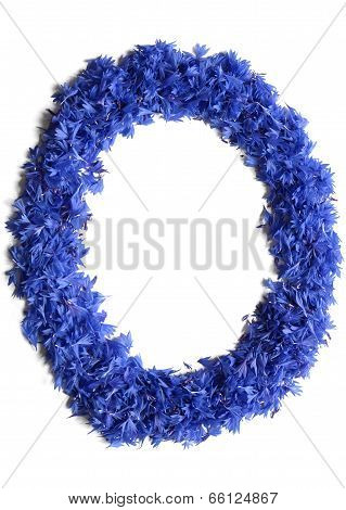 Letter O Made Of Flowers (cornflowers) Isolated On White Background